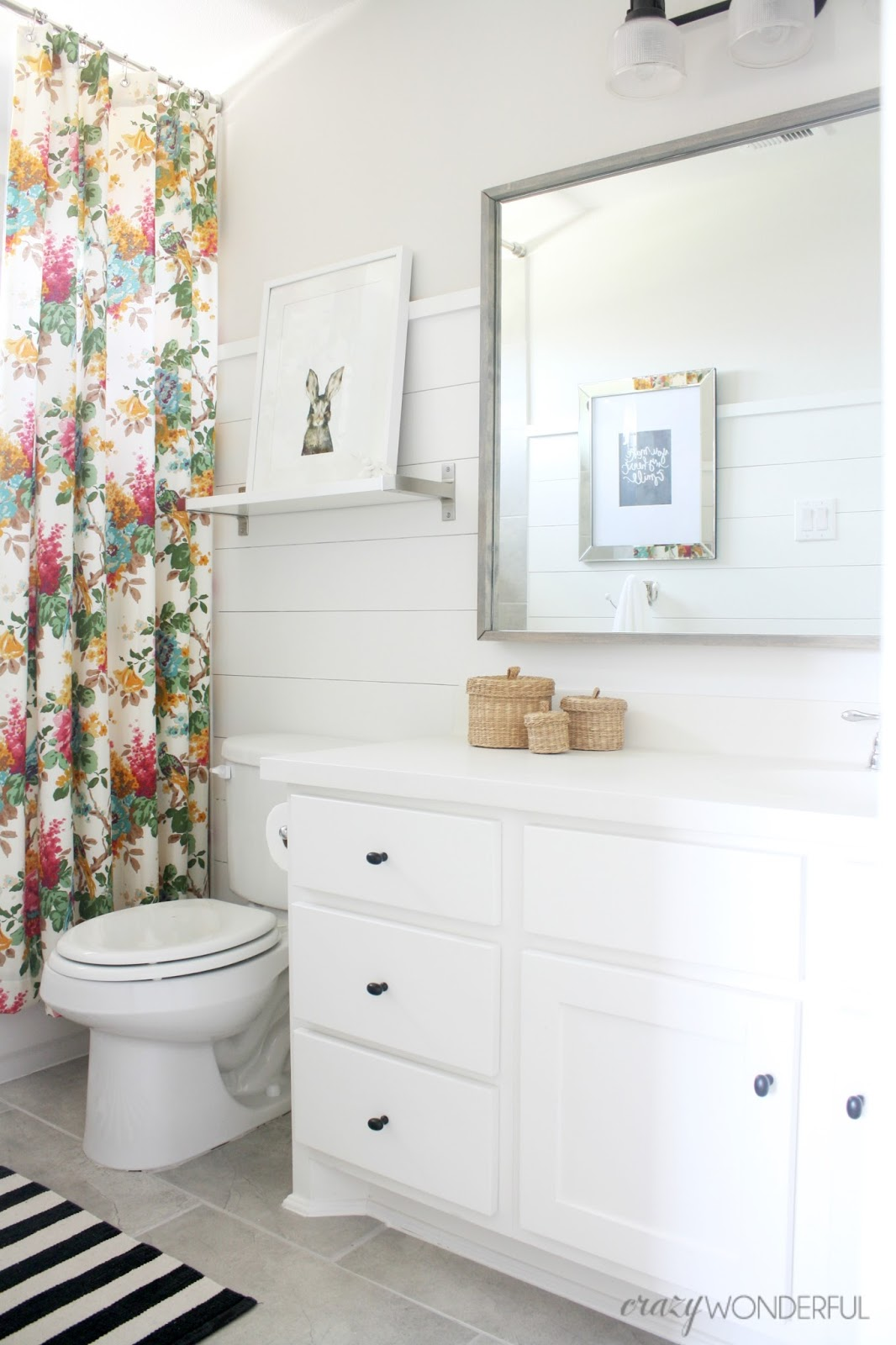 shiplap girls bathroom reveal  Crazy Wonderful