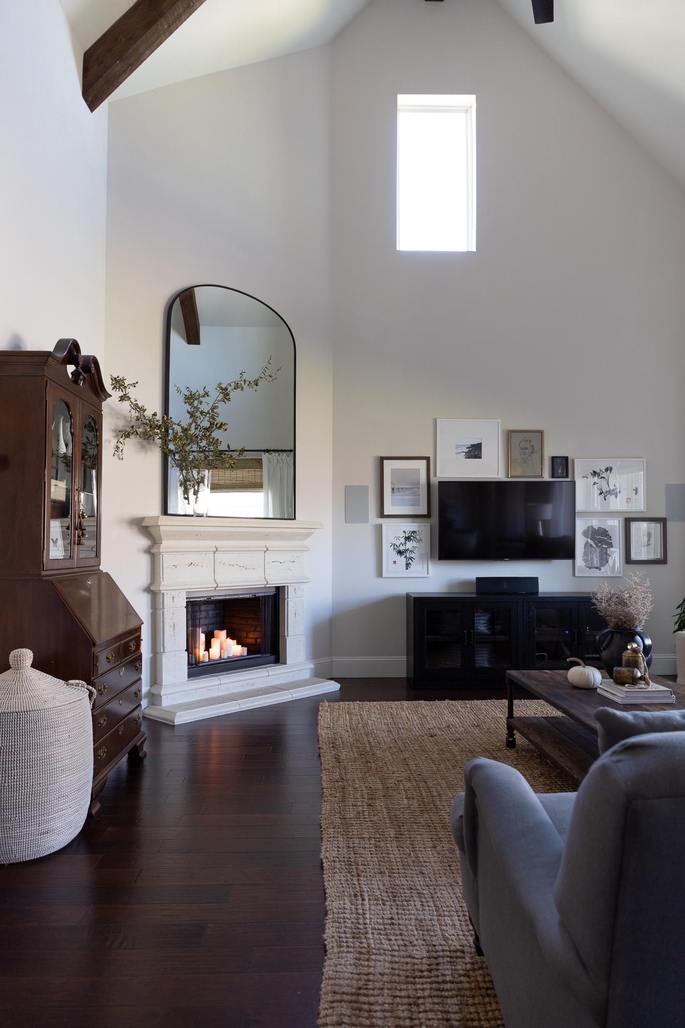 large mirror over fireplace, Serena & Lily La Jolla Basket