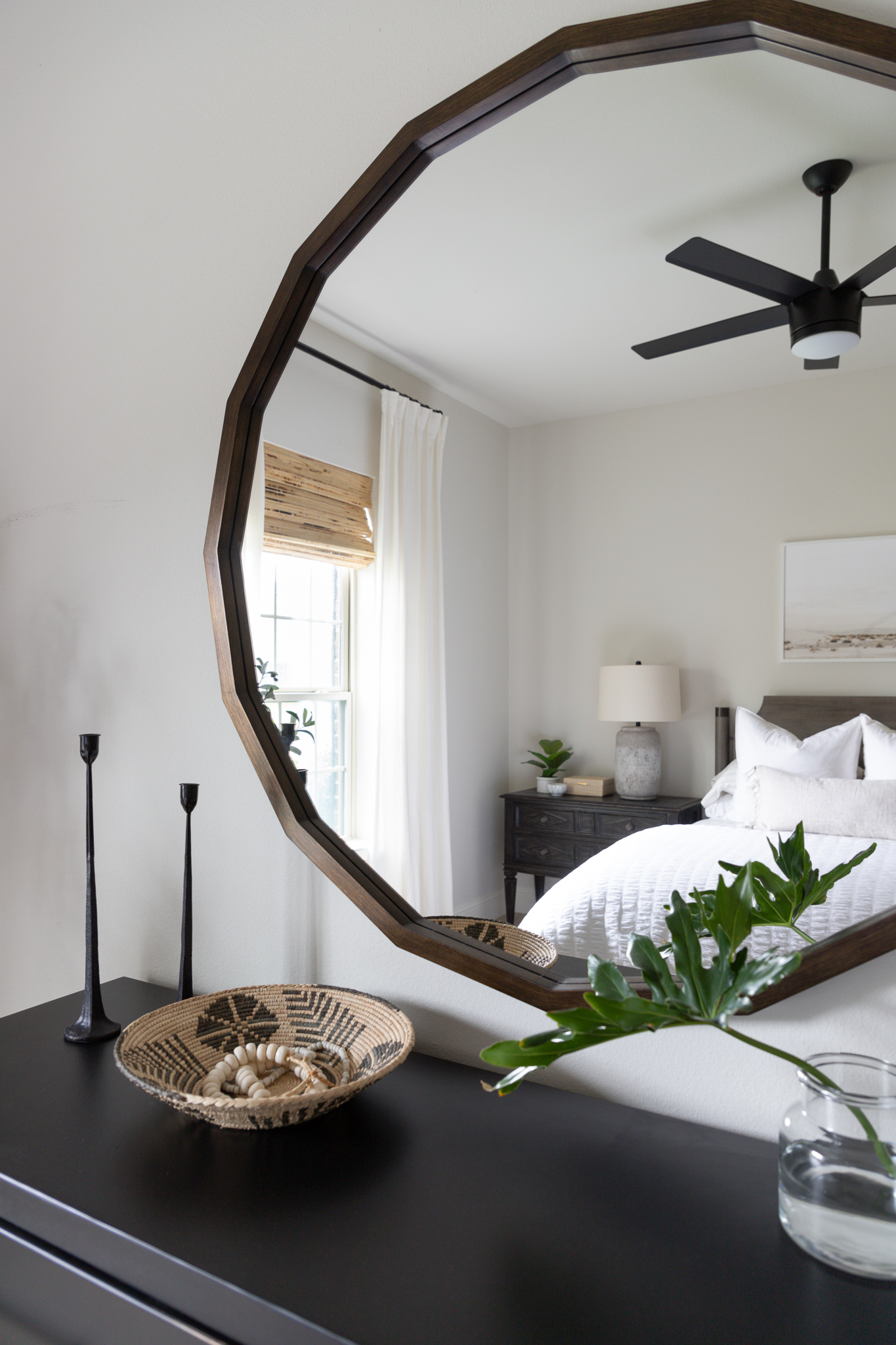 dresser styling ideas, large round Bassett Furniture mirror