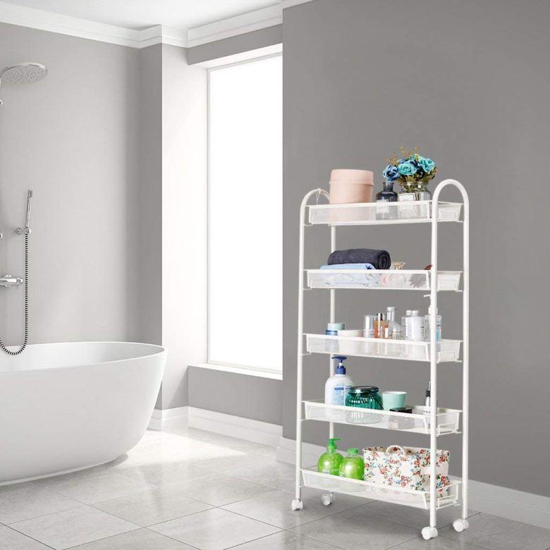 Organize a small bathroom with a slim shelf