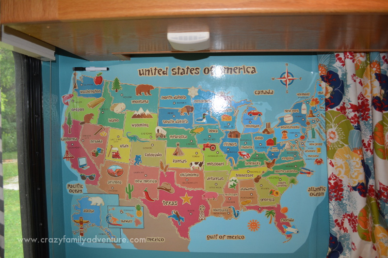 RV Remodel For A Large Family Crazy Family Adventure - Us map whiteboard