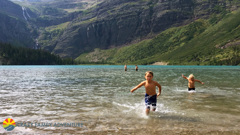 Taking a cool dip in Grinnell Lake
