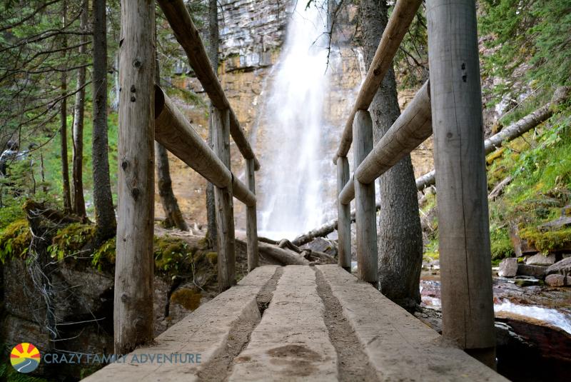 Old school bridge to Virginia Falls in Glacier National Park