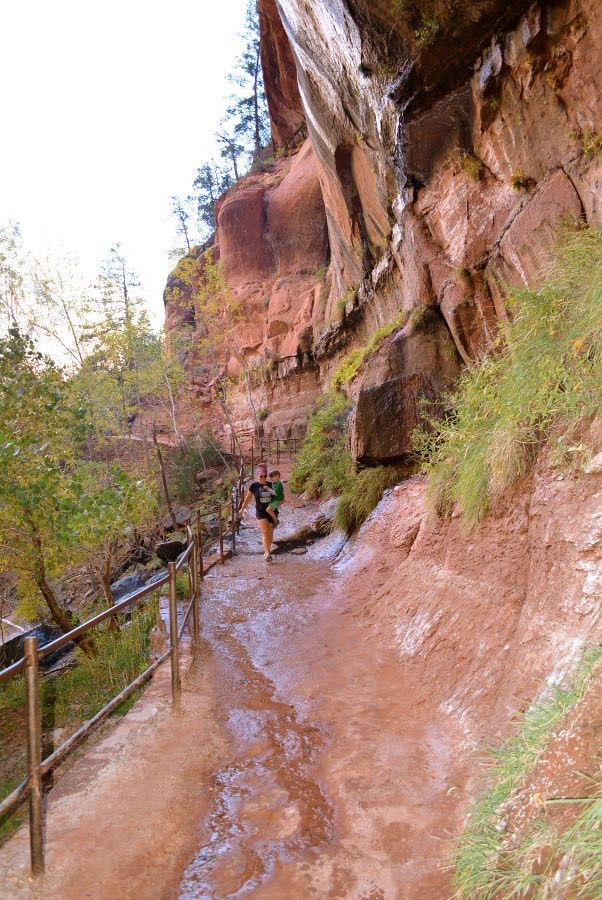 Hiking up to the 3 pools in Zion National Park