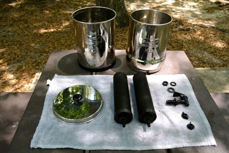 All the components to the Berkey Water Filter