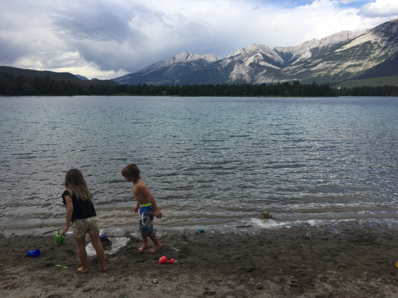 Spend a day at the beach in Jasper National Park