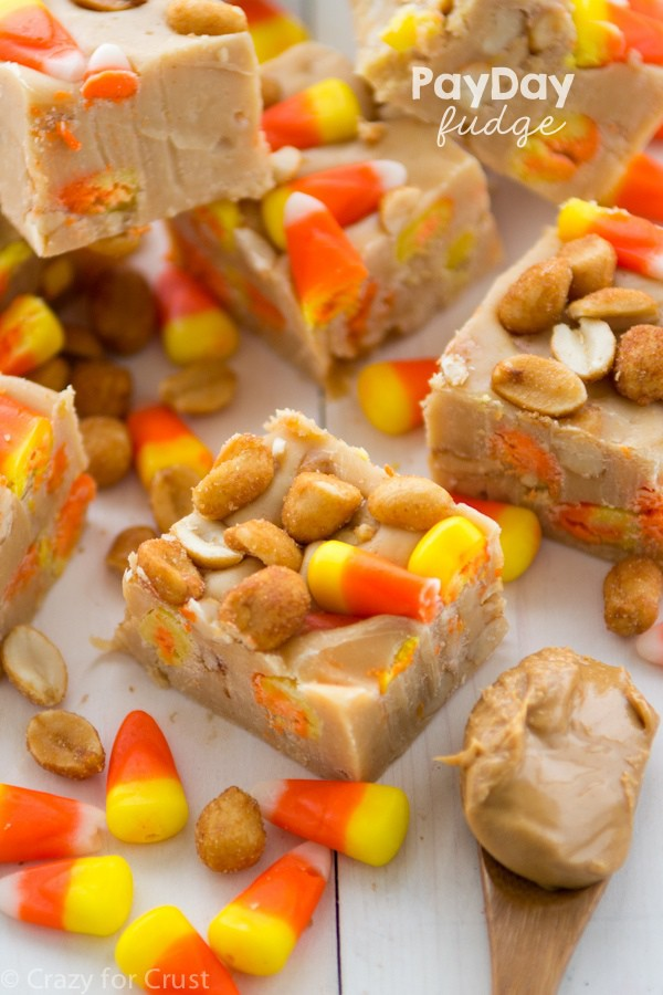 Payday Fudge is peanut butter fudge filled with candy corn and peanuts - it tastes like a PayDay Candy Bar!