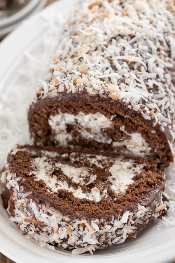 sliced chocolate coconut cake roll