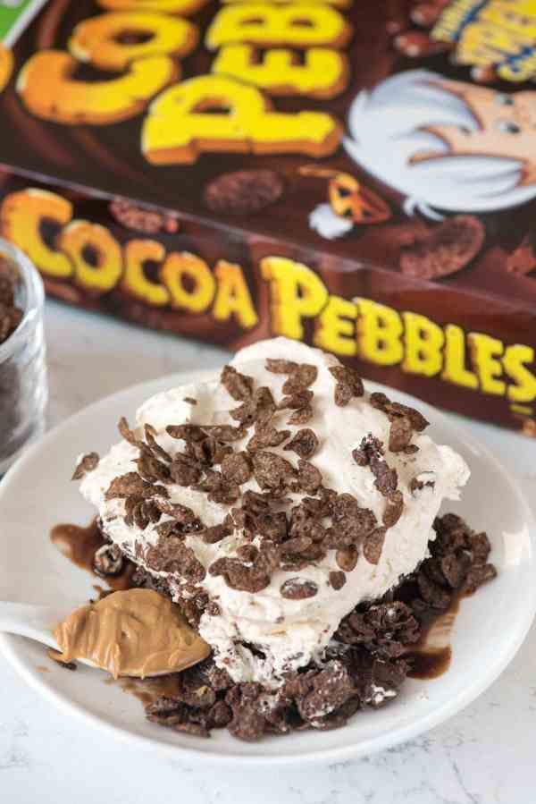 Peanut Butter Cocoa Pebbles Bake Dessert - Crazy Crust