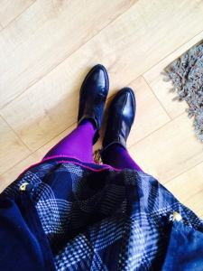 Purple tights and boots and bells