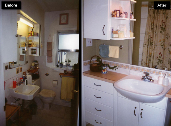 bathroom before, during and after renovation