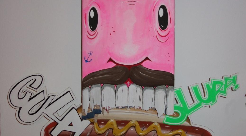 Knut und der Hot-Dog - bemaltes Skateboard von Molusk