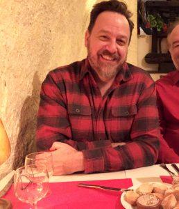Drew & a little slice of G. at dinner.