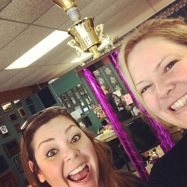 Me and kimberperry with the wbtech hackathon trophy She designedhellip