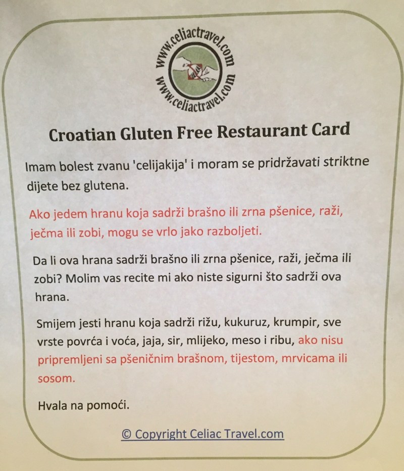 Croatian gluten-free restaurant card