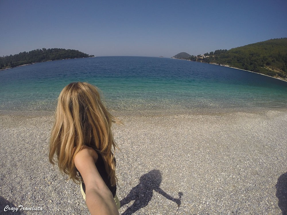 GoPro shot of Blue Green Bay, Skopelos