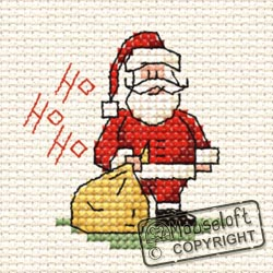 Christmas Cross Stitch Card Kit - Ho Ho Ho Santa-0