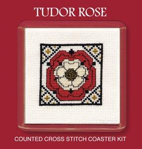 Cross Stitch Coaster Kit - Tudor Rose-0