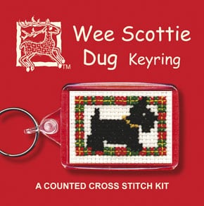 Cross Stitch Keyring Kits - Wee Scottie Dog-0