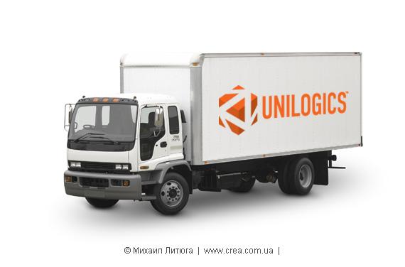 логотип Unilogics на грузовичке