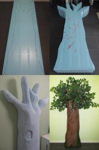 árbol con planchas de poliestireno