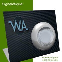 signalétique et packaging: présentoir pour spot de piscine