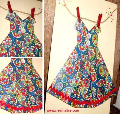 Diy carte robe origami pour la plus jolie des mamans - Robe en origami ...