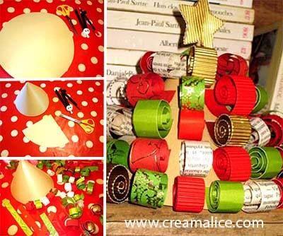 Mini-sapin en bouclettes carton