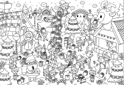 Printable coloriages de no l pour les kids - Coloriage village de noel ...
