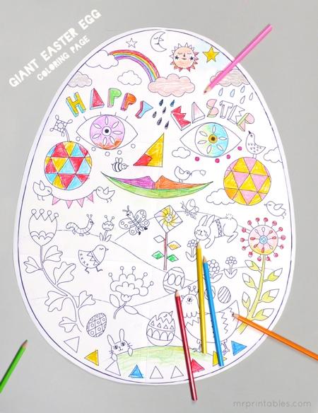 coloriage géant oeuf de Pâques à imprimer
