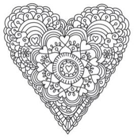 diy printable coloriage Coeur Saint Valentin
