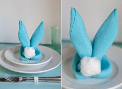 idée créative déco table Pâques pliage serviette lapin
