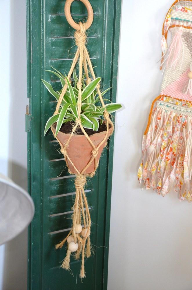 diy porte plante macram. Black Bedroom Furniture Sets. Home Design Ideas