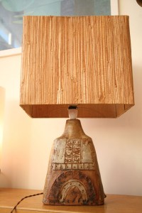1960s Ceramic Table Lamp and Shade | Cream and Chrome