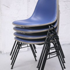 Herman Miller Stacking Chairs Garden Table And Sale Uk Charles Eames For Cream Chrome Blue Upholstered 2