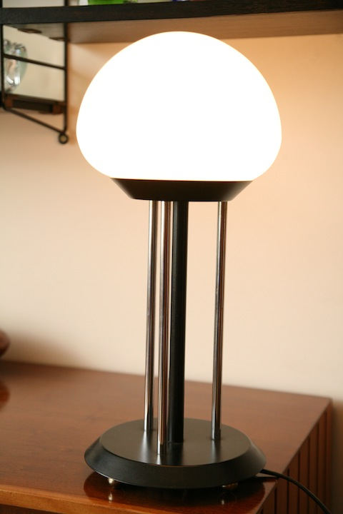 1970s Glass Table Lamp Cream And Chrome