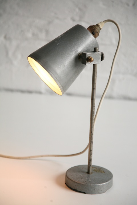 Vintage Laboratory Lamp  Cream and Chrome