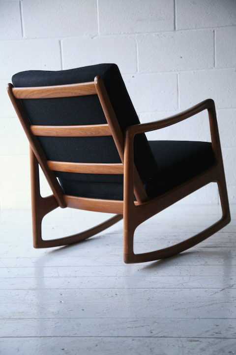 Danish Teak Rocking Chair by Ole Wanscher  Cream and Chrome