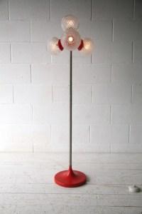 1970s 4 Bulb Orange Floor Lamp | Cream and Chrome