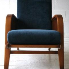 Unusual Armchair Chair Pillow Walmart 1930s Blue Velvet | Cream And Chrome