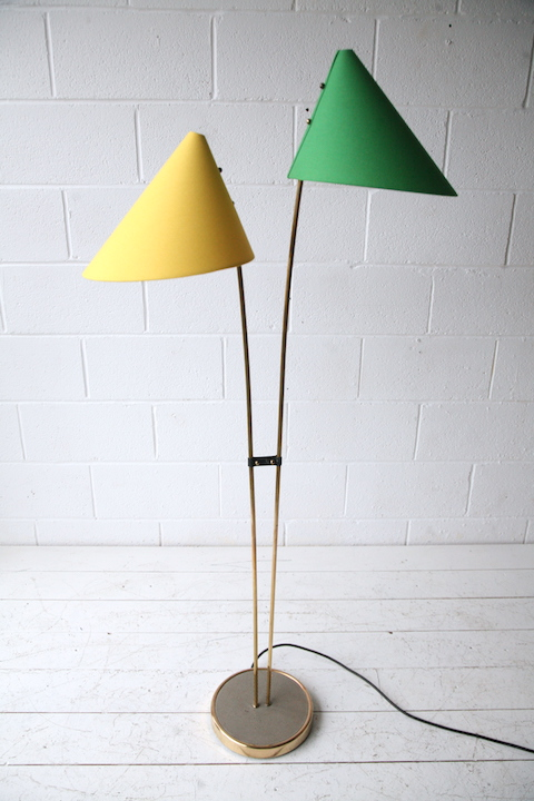 desk chair fabric sit and play 1950s green yellow double floor lamp | cream chrome