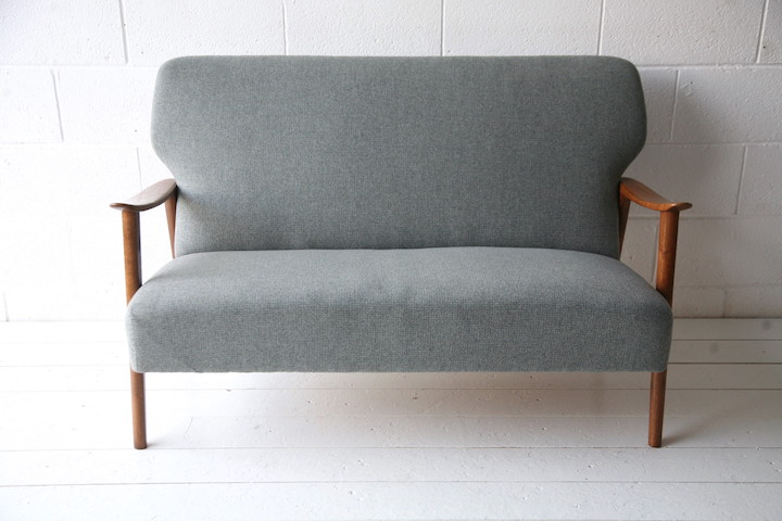one seater sofa chair antique brown leather 1950s danish oak | cream and chrome