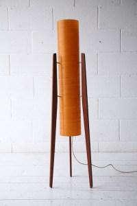 1960s Teak Rocket Lamp   Cream and Chrome