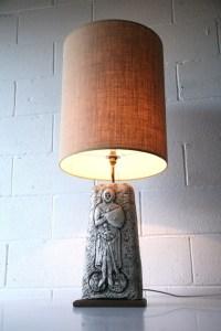 Large Vintage Ceramic Lamp & Shade   Cream and Chrome
