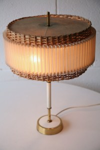 1960s Wicker Table Lamp | Cream and Chrome