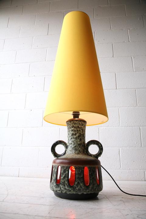 Large 1960s Fat Lava Floor Lamp  Cream and Chrome