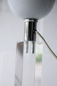 Vintage Lucite & Glass Table Lamp | Cream and Chrome