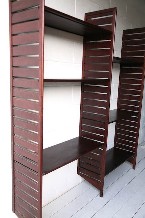 Vintage Mahogany Bookcase by Ladderax  Cream and Chrome