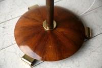 Art Deco Walnut Brass Floor Lamp | Cream and Chrome