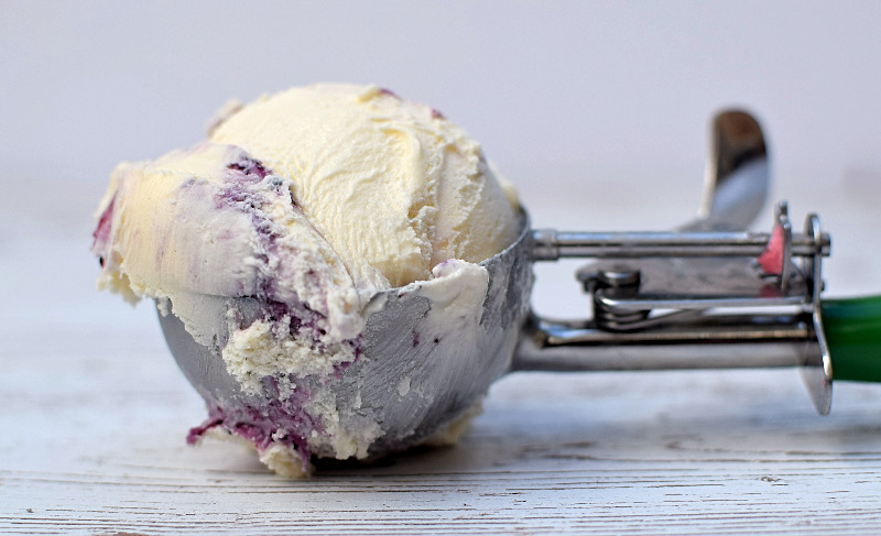 Blueberry Ice Cream in a Scoop
